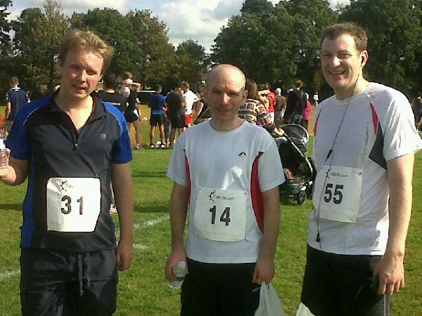 Chris, John and Simon after the East Grinstead 10k