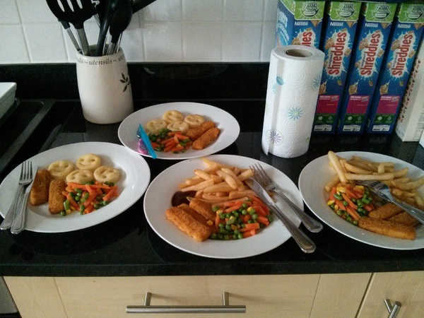 Simple fish finger meal for four
