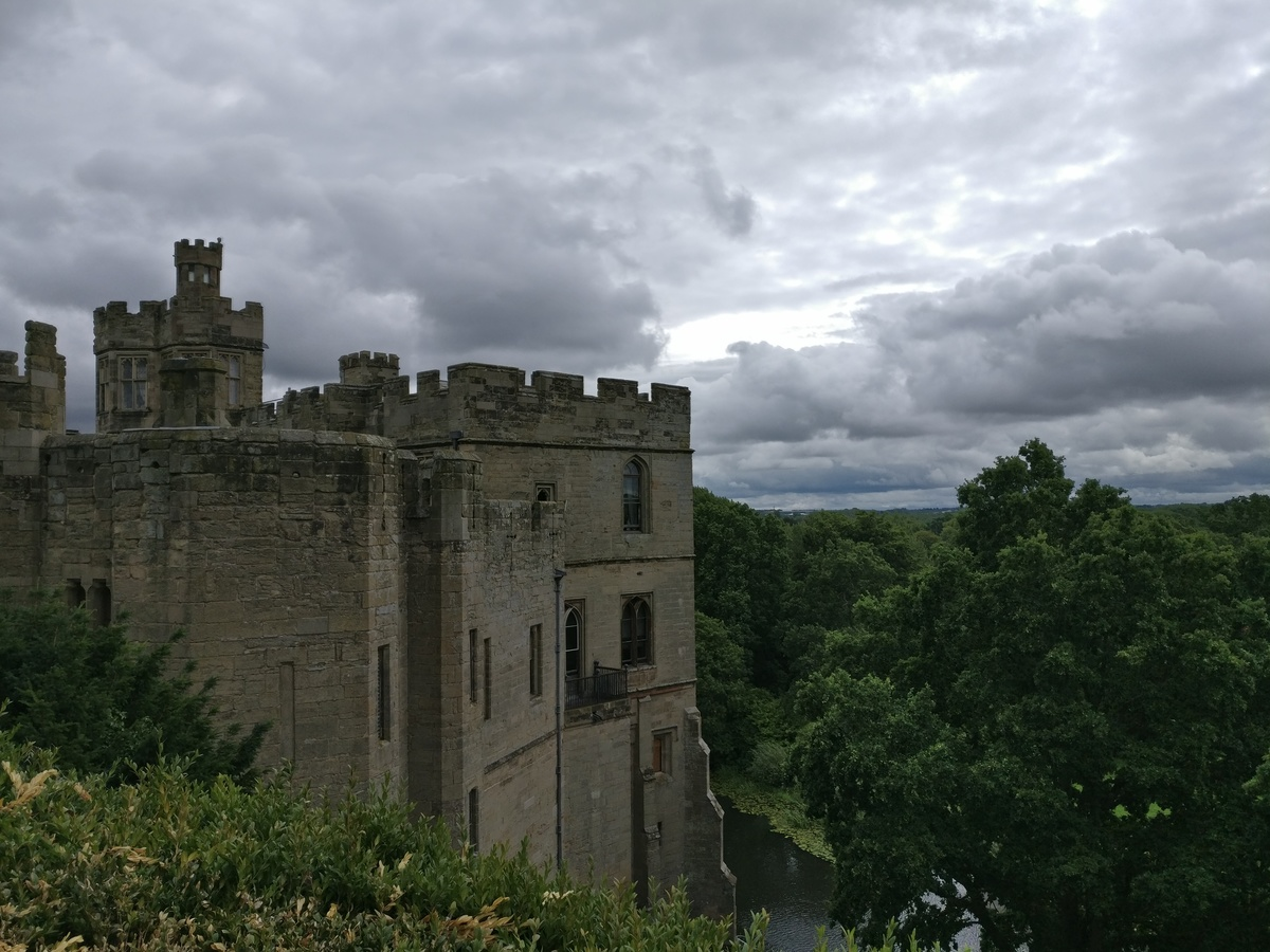 Warwick Castle, clouds and trees