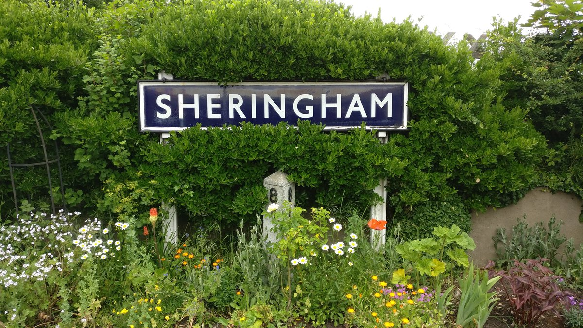 Shringham sign and flowers
