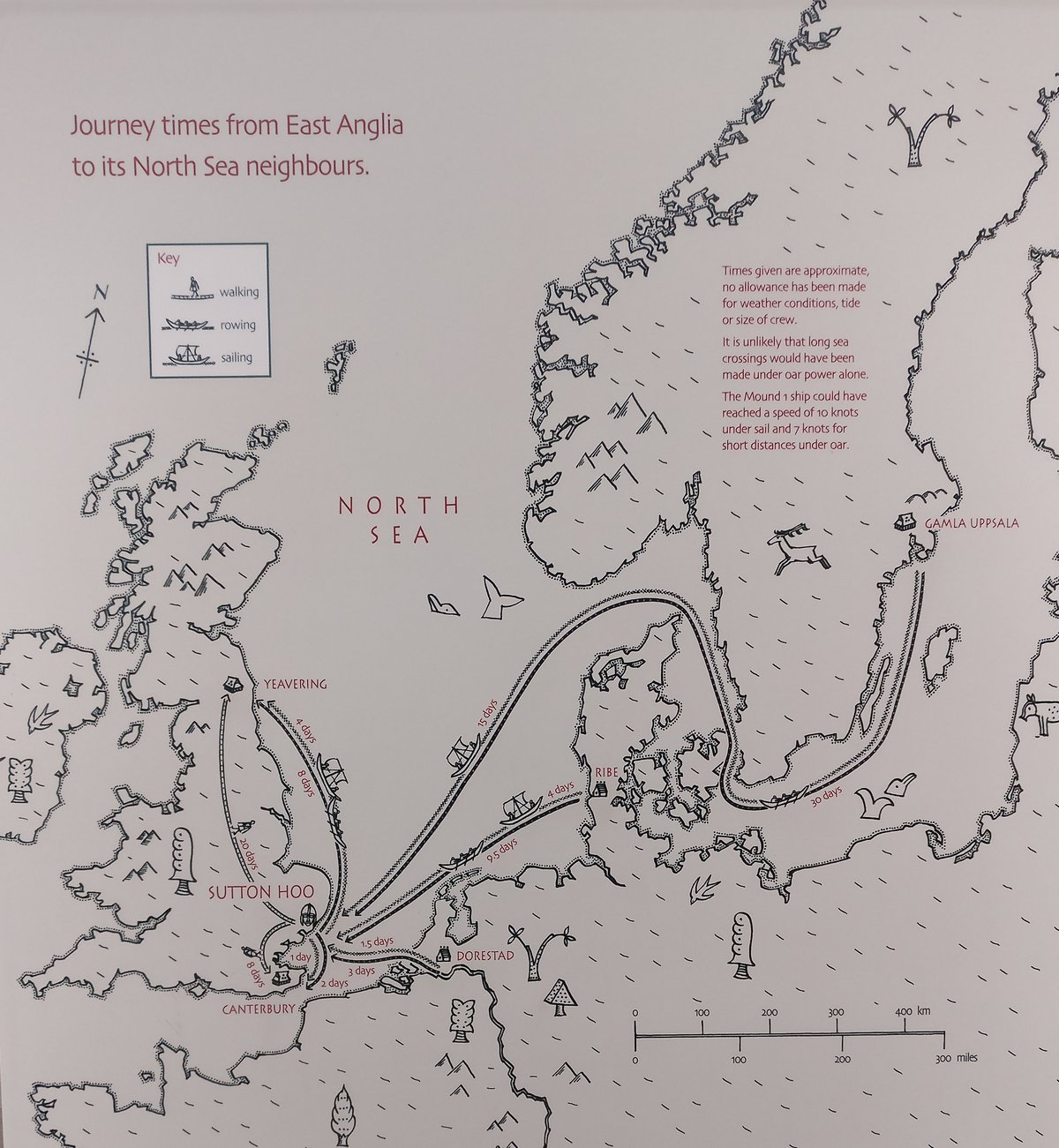Iron age land vs sea travel times map