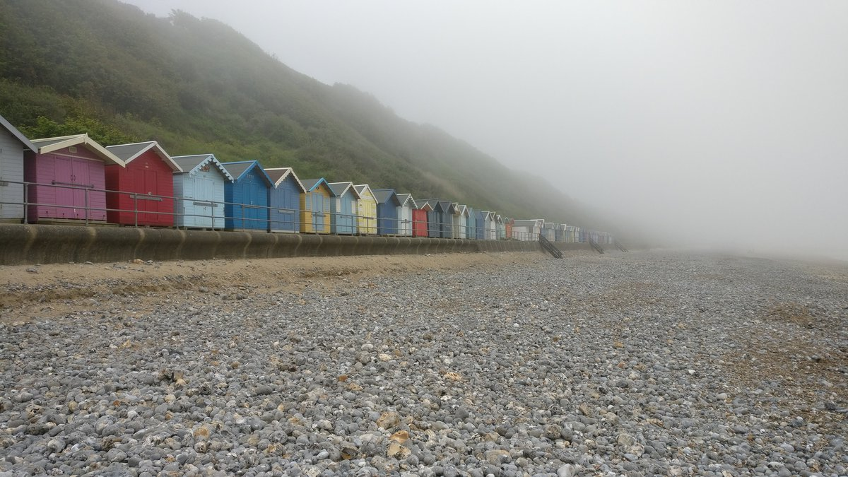 Cromer, misty beach huts