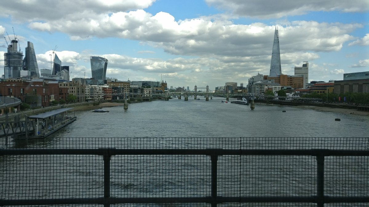 London, Thames and clouds from a bridge
