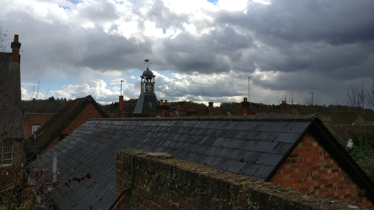 Reigate rooftops and clock