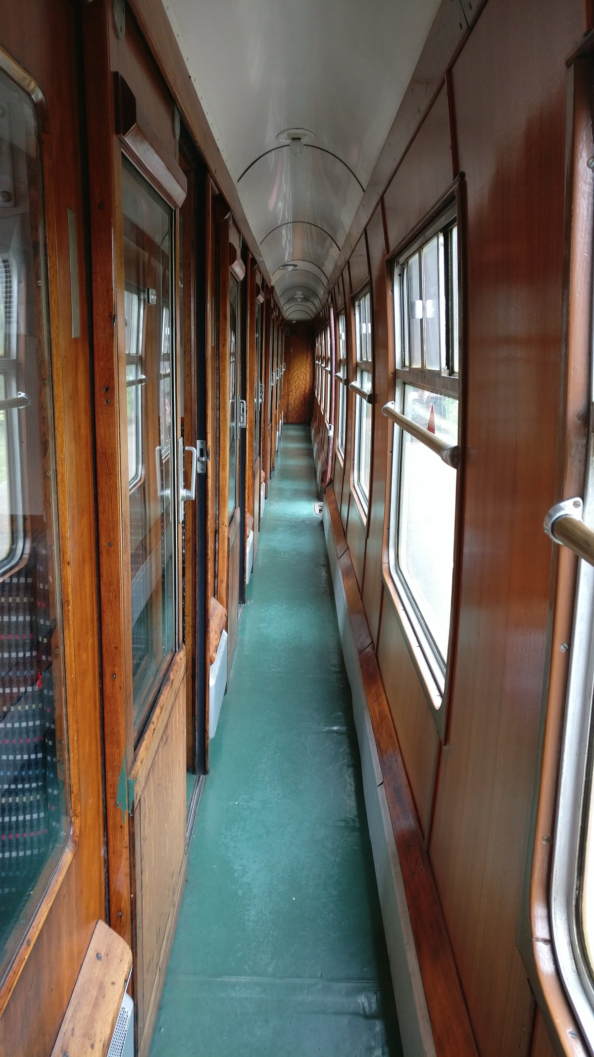 Inside old, compartment train carriage